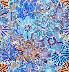 Blue Hand Drawn Floral Pattern vector image
