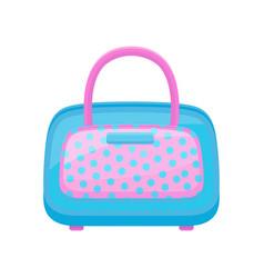 blue-pink handbag in polka dots flat vector image