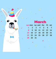 Calendar for march 2020 week start on sunday cute vector