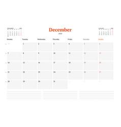 Calendar template for december 2020 business vector