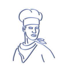 chef looking to side neon sign vector image