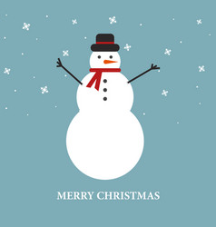 christmas background with snowman and snowflakes vector image