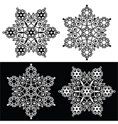 Christmas snowflake design with - embroidery lace vector