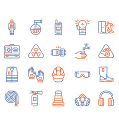 Color line icon set safety tools vector