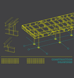 Construction drawings cover background for vector