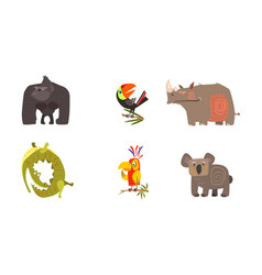 Cute cartoon african animals set gorilla toucan vector