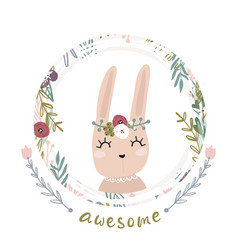 Cute cartoon bunny girl in floral wreath awesome vector