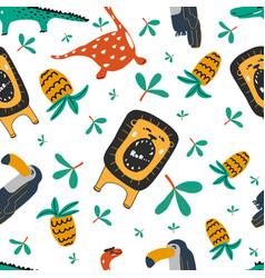 Cute wild animals and dinosaur seamless pattern vector