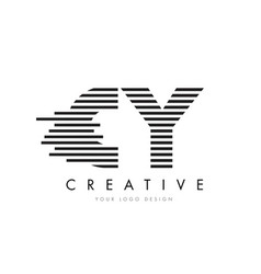 cy c y zebra letter logo design with black and vector image