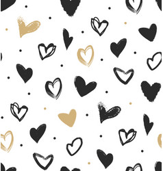 doodle hearts in black and gold seamless pattern vector image