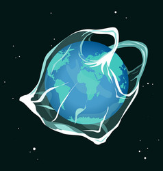 earth planet catching into plastic bag say no vector image