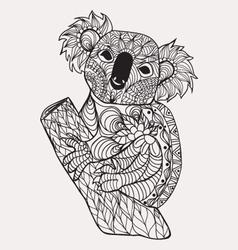 entangle style koala black white hand drawn vector image