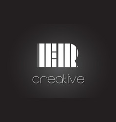 Er e r letter logo design with white and black vector