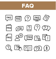 Faq frequently asked questions icons set vector