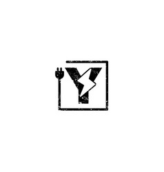 Flash logo initial y symbol electrical icon vector