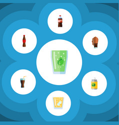 Flat icon beverage set of bottle fizzy drink vector