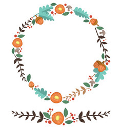 Flowers acorn and leaves forest wreath vector