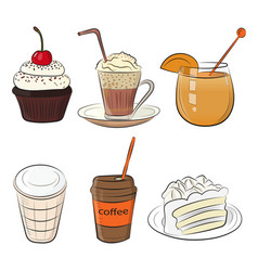food cafe set vector image