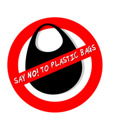 Forbidden sign say no plastic bags isolated on vector