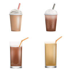 fresh ice coffee icon set realistic style vector image