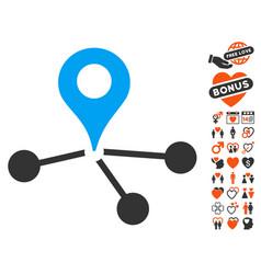 Geo network icon with valentine bonus vector