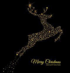 Golden deer on black background vector