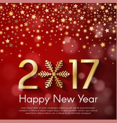 Golden new year 2017 concept on red blurry vector
