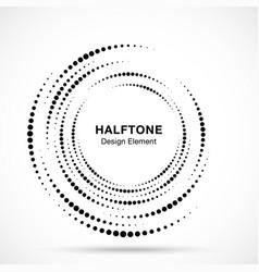 halftone vortex circle frame circular swirl vector image