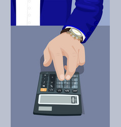 hand of businessman typing on calculator device vector image