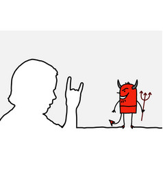 Hand sign devil vector