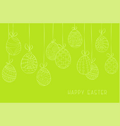 happy easter green background with hand drawn vector image