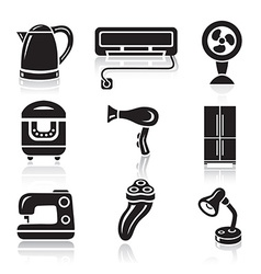 Household appliances icon set black sign on white vector
