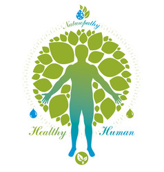Human athlete surrounded by green tree leaves vector