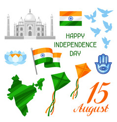 India independence day set objects celebration vector