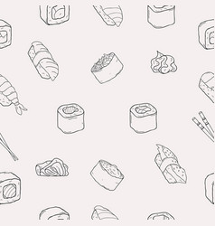 japanese seafood sushi rolls seamless pattern vector image