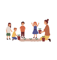 kindergarten teacher with kids group flat vector image