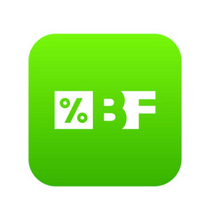 Letters bf black friday and percentage icon vector