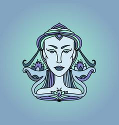 libra girl portrait zodiac sign doodle vector image