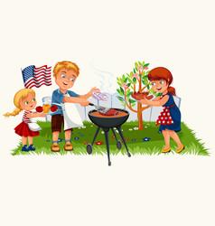 lovely friendly family having nice picnic in vector image