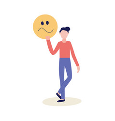 man with feedback negative emoticon flat vector image