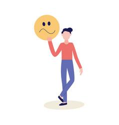 Man with feedback negative emoticon flat vector