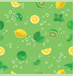 mojito cocktail lime lemon mint and bubbles green vector image