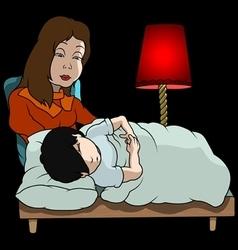 Mom And Sleeping Boy vector