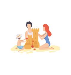 Mom dad and son building sandcastle happy family vector