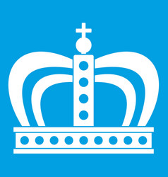 Monarchy crown icon white vector