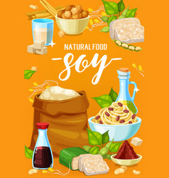 Natural soy food meals and soybean products vector