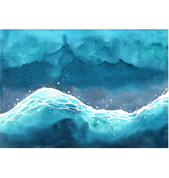 Ocean wave watercolor on top view hand painting vector