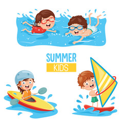 of kids making water sports vector image