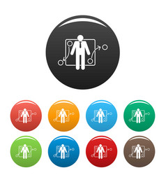 One businessman icons set color vector