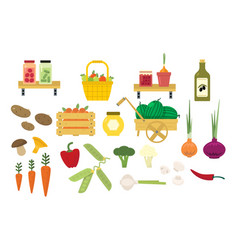 Organic food icons set vector
